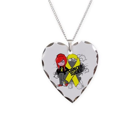 Testicular CANCER SUCKS Necklace Heart Charm