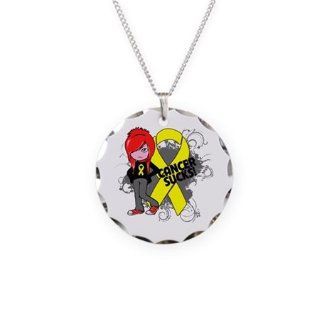 Sarcoma SUCKS Necklace Circle Charm