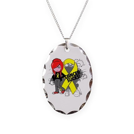 Sarcoma SUCKS Necklace Oval Charm