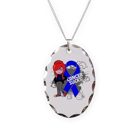 Rectal CANCER SUCKS Necklace Oval Charm
