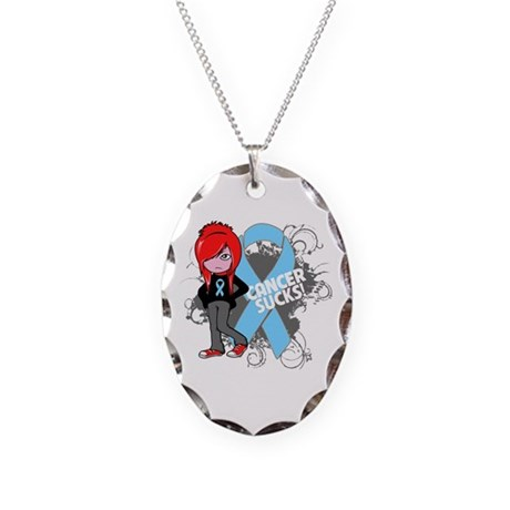 Prostate Cancer SUCKS Necklace Oval Charm