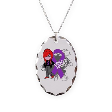 Pancreatic Cancer SUCKS Necklace Oval Charm