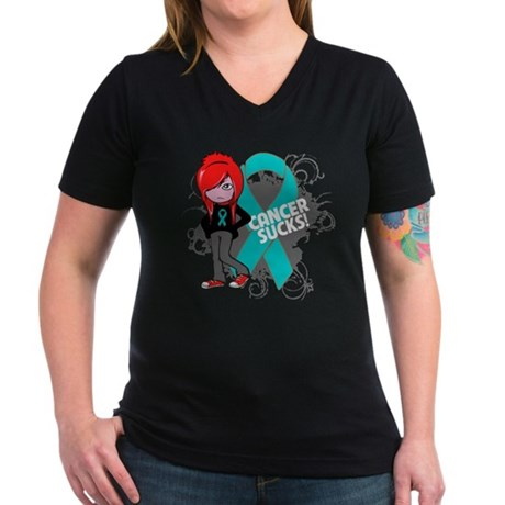 Ovarian Cancer SUCKS Women's V-Neck Dark T-Shirt