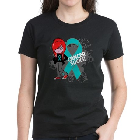 Ovarian Cancer SUCKS Women's Dark T-Shirt