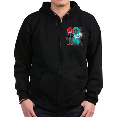 Ovarian Cancer SUCKS Zip Hoodie (dark)