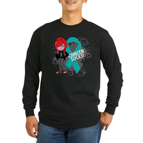 Ovarian Cancer SUCKS Long Sleeve Dark T-Shirt