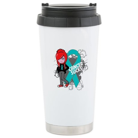 Ovarian Cancer SUCKS Ceramic Travel Mug