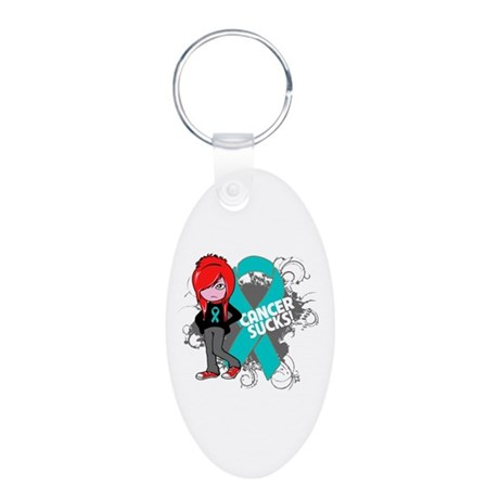 Ovarian Cancer SUCKS Aluminum Oval Keychain