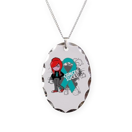 Ovarian Cancer SUCKS Necklace Oval Charm