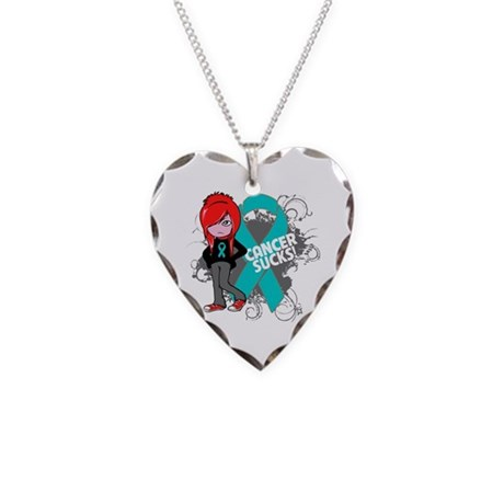 Ovarian Cancer SUCKS Necklace Heart Charm