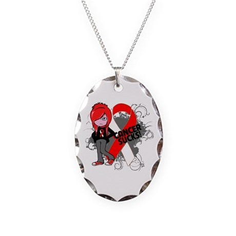 Oral CANCER SUCKS Necklace Oval Charm