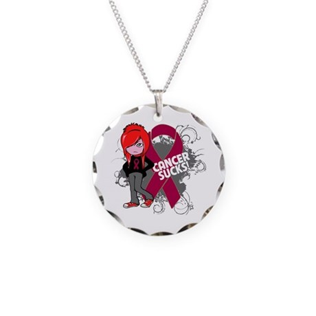 Myeloma CANCER SUCKS Necklace Circle Charm