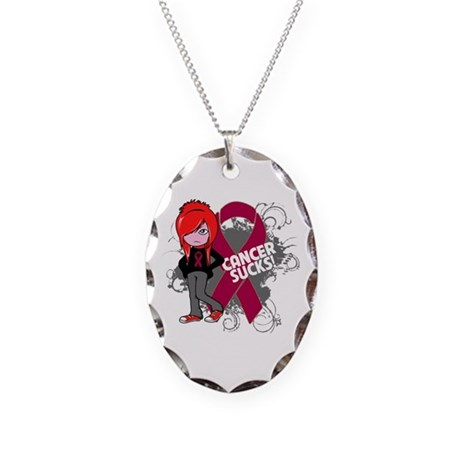 Myeloma CANCER SUCKS Necklace Oval Charm