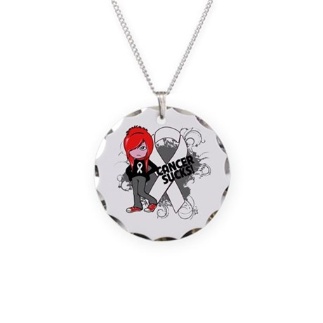 Mesothelioma CANCER SUCKS Necklace Circle Charm