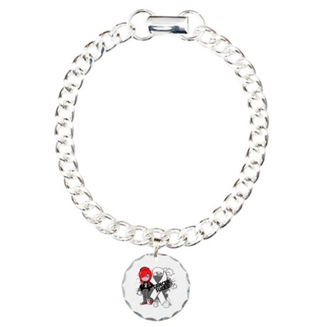 Mesothelioma CANCER SUCKS Charm Bracelet, One Char
