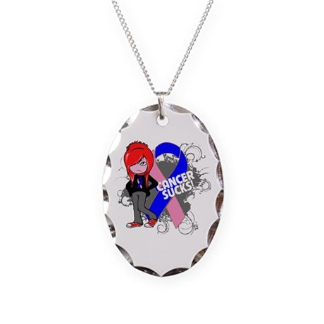 Male Breast CANCER SUCKS Necklace Oval Charm