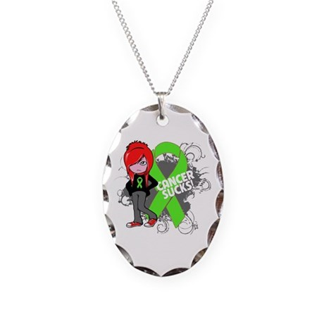 Lymphoma CANCER SUCKS Necklace Oval Charm
