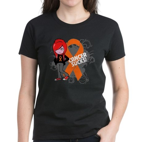 Leukemia CANCER SUCKS Women's Dark T-Shirt