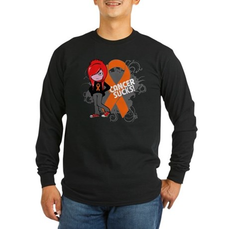 Leukemia CANCER SUCKS Long Sleeve Dark T-Shirt