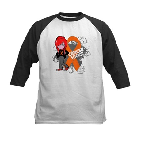 Leukemia CANCER SUCKS Kids Baseball Jersey