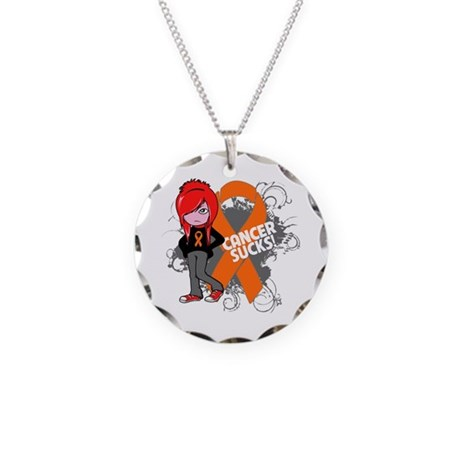 Leukemia CANCER SUCKS Necklace Circle Charm