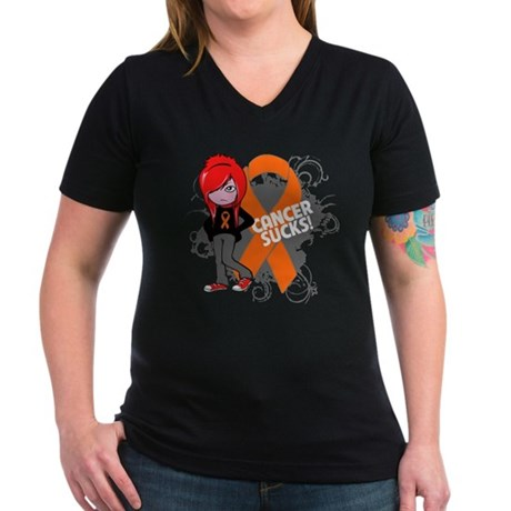 Kidney CANCER SUCKS Women's V-Neck Dark T-Shirt