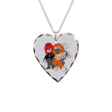 Kidney CANCER SUCKS Necklace Heart Charm