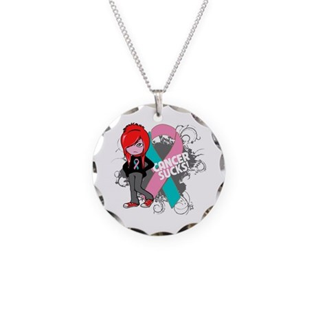 Hereditary Breast CANCER SUCKS Necklace Circle Cha