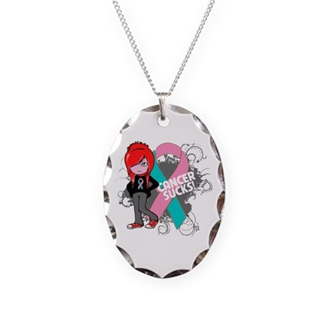 Hereditary Breast CANCER SUCKS Necklace Oval Charm