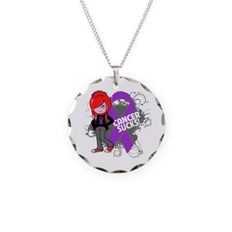 GIST CANCER SUCKS Necklace Circle Charm
