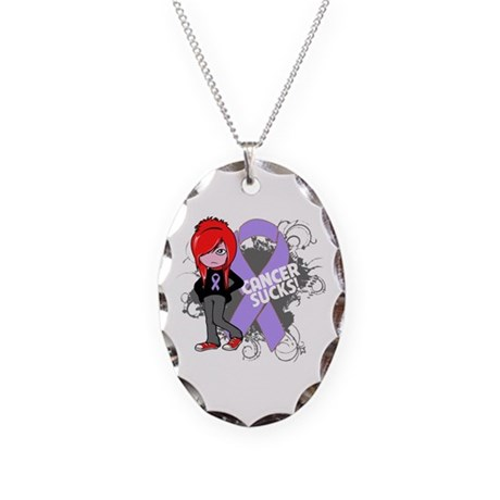 General CANCER SUCKS Necklace Oval Charm