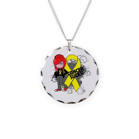 Ewing Sarcoma CANCER SUCKS Necklace Circle Charm