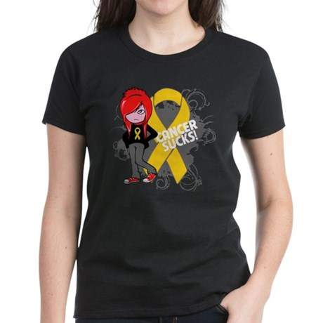 Childhood CANCER SUCKS Women's Dark T-Shirt