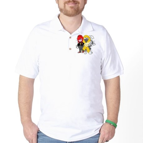 Childhood CANCER SUCKS Golf Shirt
