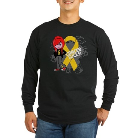 Childhood CANCER SUCKS Long Sleeve Dark T-Shirt