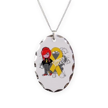 Childhood CANCER SUCKS Necklace Oval Charm