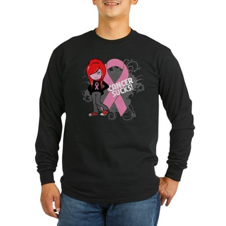 Breast CANCER SUCKS Long Sleeve Dark T-Shirt