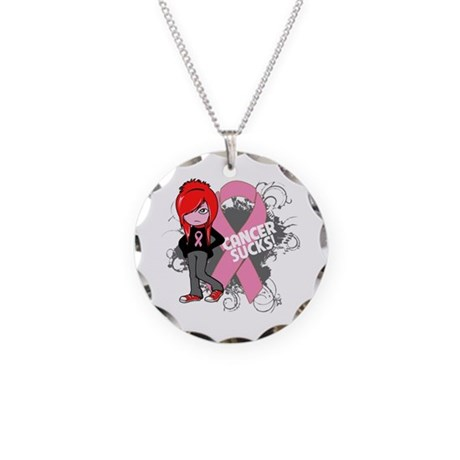 Breast CANCER SUCKS Necklace Circle Charm