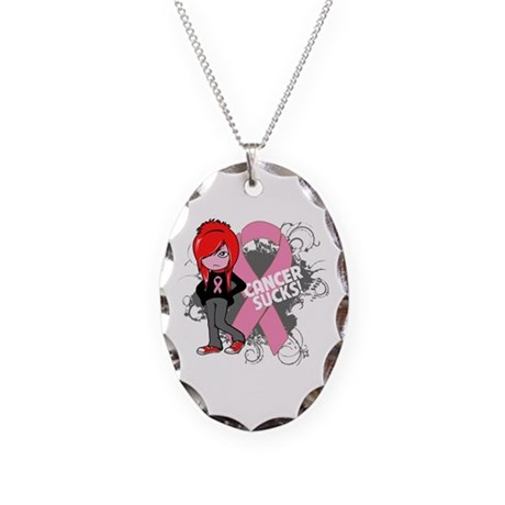 Breast CANCER SUCKS Necklace Oval Charm