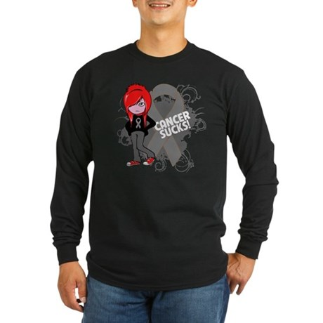Brain CANCER SUCKS Long Sleeve Dark T-Shirt