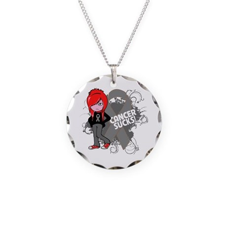 Brain CANCER SUCKS Necklace Circle Charm