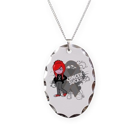 Brain CANCER SUCKS Necklace Oval Charm