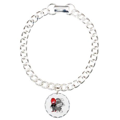 Brain CANCER SUCKS Charm Bracelet, One Charm