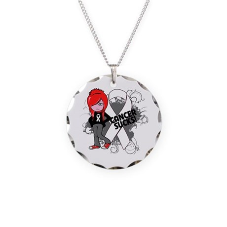 Bone CANCER SUCKS Necklace Circle Charm
