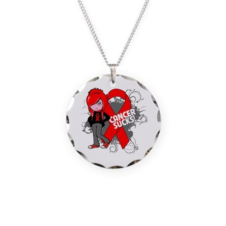 Blood CANCER SUCKS Necklace Circle Charm
