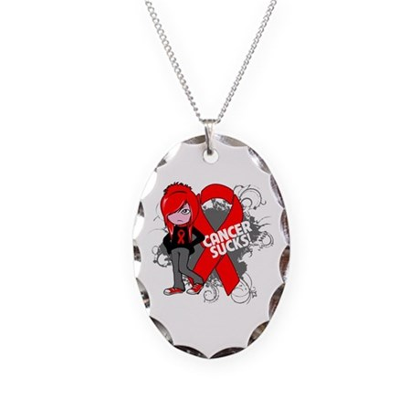 Blood CANCER SUCKS Necklace Oval Charm