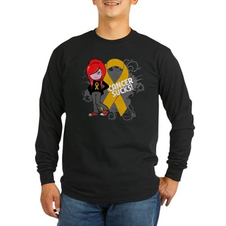 Appendix CANCER SUCKS Long Sleeve Dark T-Shirt