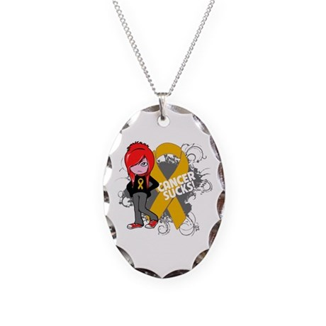 Appendix CANCER SUCKS Necklace Oval Charm