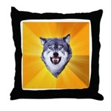 Courage Wolf Throw Pillow
