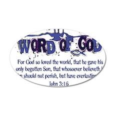 Word of God - John 3:16 - Blu 38.5 x 24.5 Oval Wal